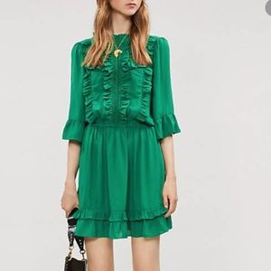 Happy Nature Lark Dress Green XS NWT Ruffle NYC